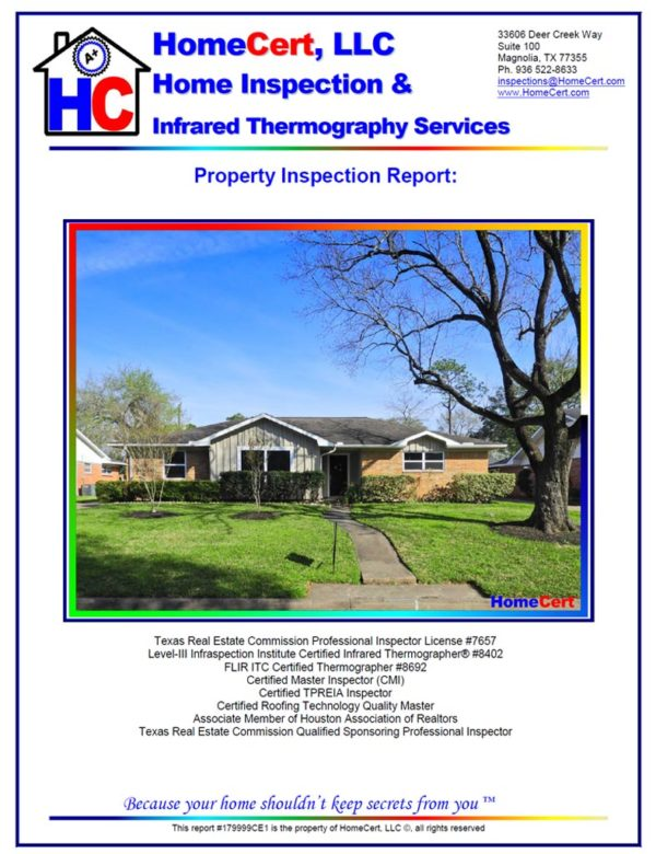 Houston Home Inspection - Sample home inspection report