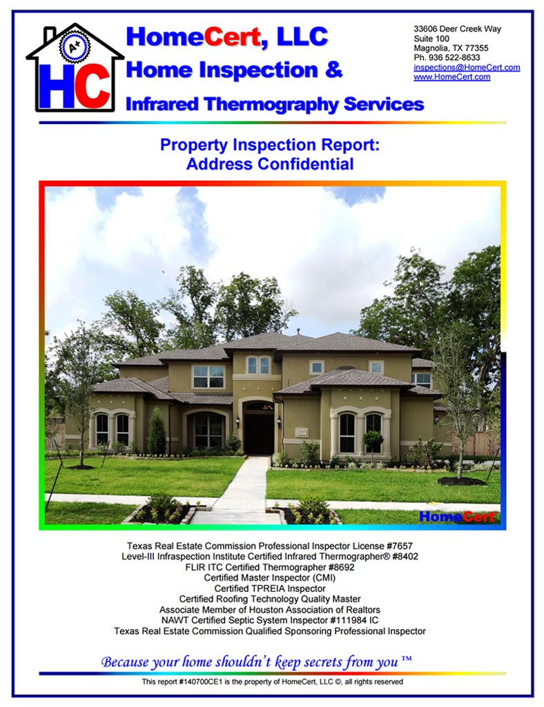 Sugar Land Home Inspection Sample report large home new construction