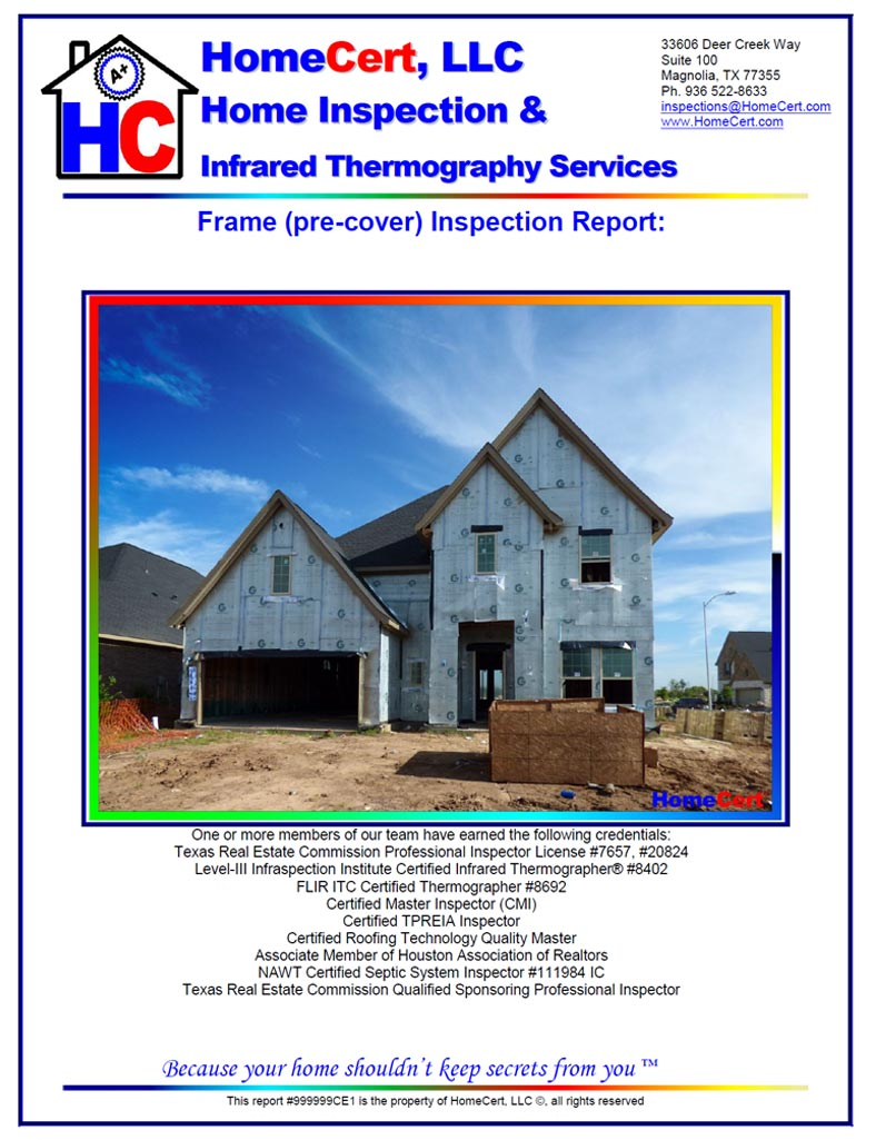 Houston Home Inspection Report Cover Page