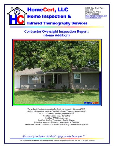 Houston home inspection report contractor oversight