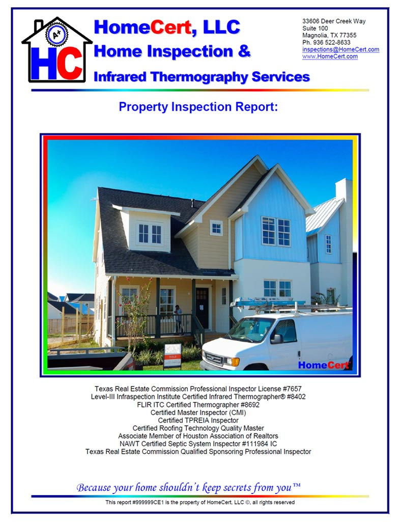 Sample report cover page for new pier and beam home