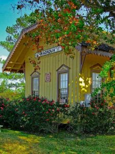 Historic train depot in the City of Magnolia, TX